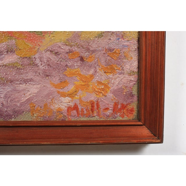 1946 Expressionist pastoral scene featuring a red horse grazing among haystacks by Danish artist Orla Muff (1903-1984)....