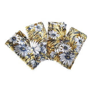 Vintage Cloth Daisy Motif Dinner Napkins - Set of 12 For Sale