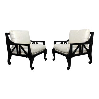 Barbara Barry Style Baker Mid Century Modern Black Lacquer Large Arm Chairs - a Pair For Sale
