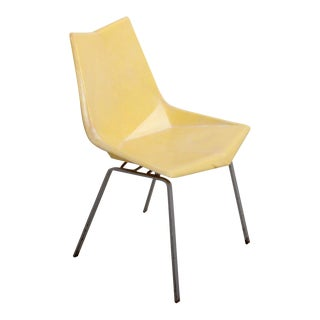 Paul McCobb Yellow Origami Side Chair on Rare Solid Base, USA, 1950s For Sale