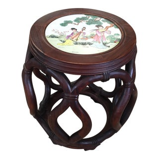 Vintage Mid Century Porcelain Top Chinese Stool For Sale