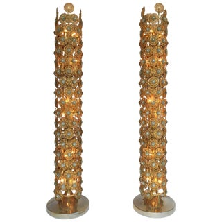 Pair of Brass Floor Lamps by Faustig. Germany, 1970s For Sale