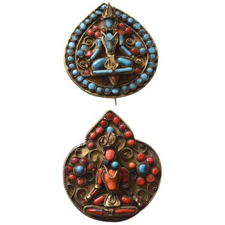 Antique Tibetan Coral Brooch Duo For Sale