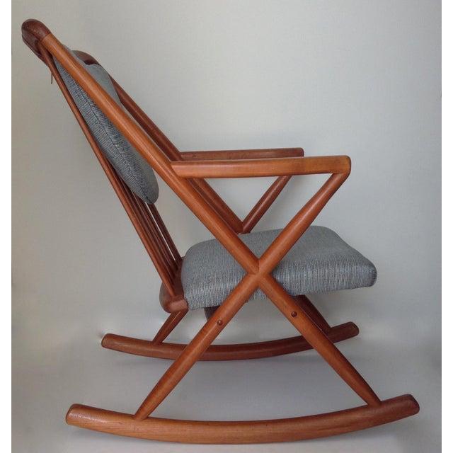 Animal Skin Benny Linden Danish Mid-Century Teak Rocking Chair For Sale - Image 7 of 11
