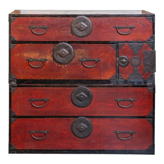 Antique Japanese Sugi Wood Tansu Chest For Sale