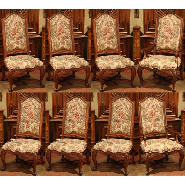 French Carved Walnut and Fruitwood Dining Chairs and Armchairs - Set of 8 For Sale - Image 12 of 13