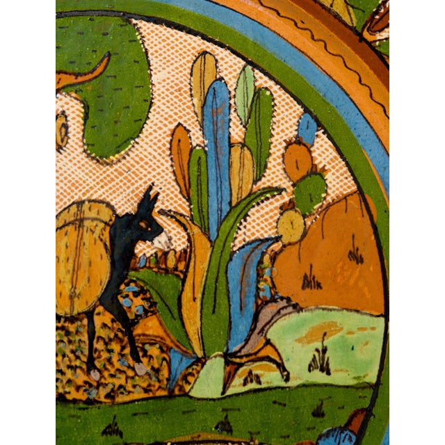Tlaquepaque 1930s Mexican Hand-Painted Ceramic Charger Tray For Sale In Jacksonville, FL - Image 6 of 11