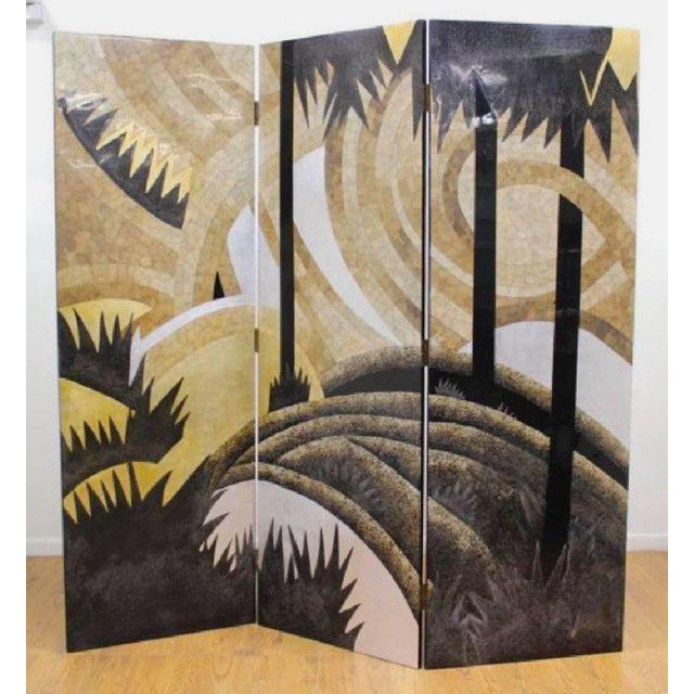 "Art Deco style egg shell lacquer three-panel screen in the manner of Jean Dunand, measures of each panel is 83"" H x 20"" W."