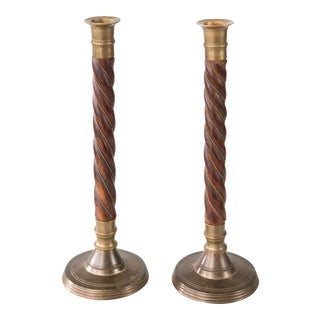Brass and Barley Twist Candlesticks - a Pair For Sale