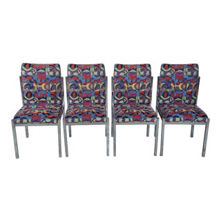 Mid Century Modern Colorful Geometric Chrome Side Accent Dining Chairs - Set of 4 For Sale