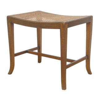 Vintage English Caned Stool For Sale