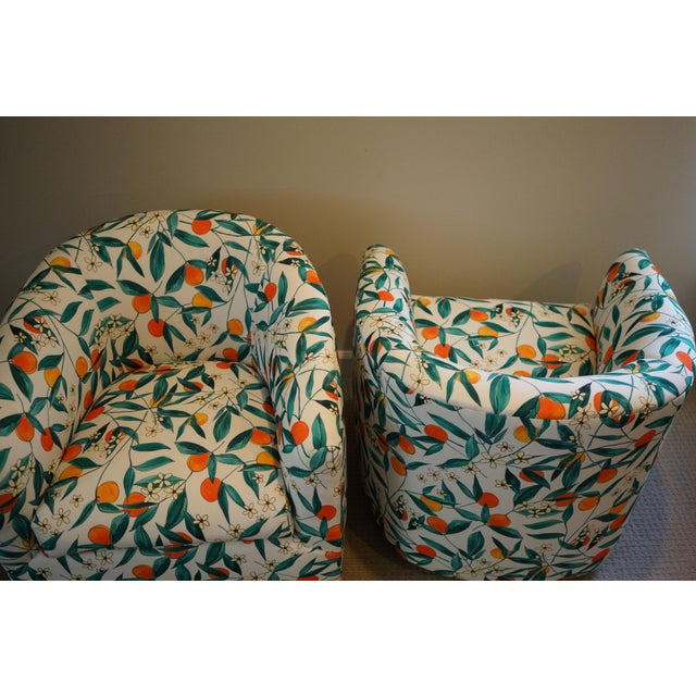Vintage Mid-Century Baughman Style Swivel Chairs- A Pair For Sale In Raleigh - Image 6 of 10