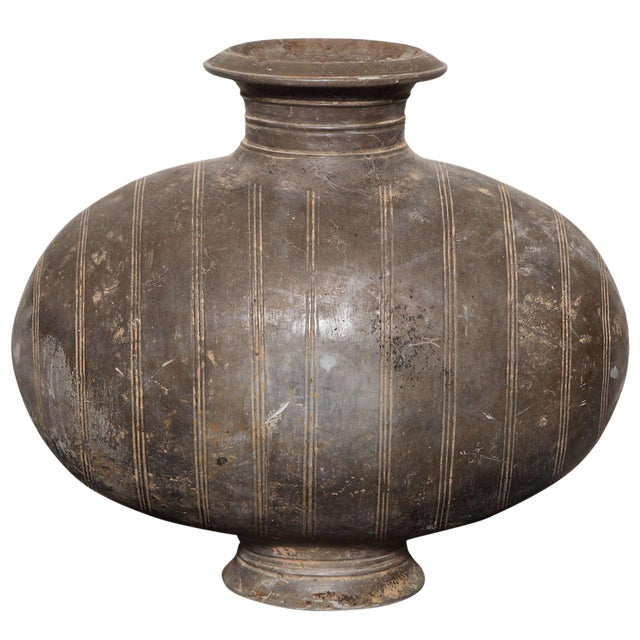 Western Han Dynasty Terracotta Cocoon Jar with Incised Bands from China For Sale