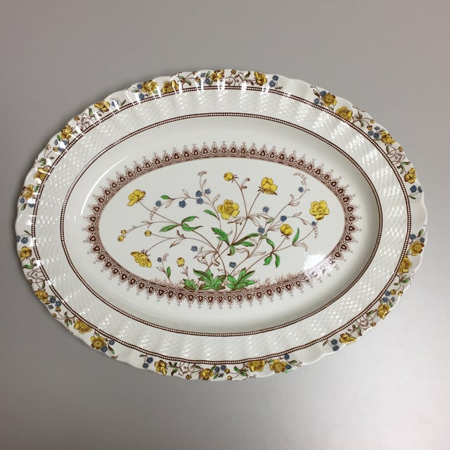 Blue Spode Copeland Iconic Buttercup Large Oval Serving Platter For Sale - Image 8 of 8