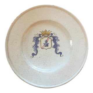 Hand Painted Italian Armorial Plate For Sale