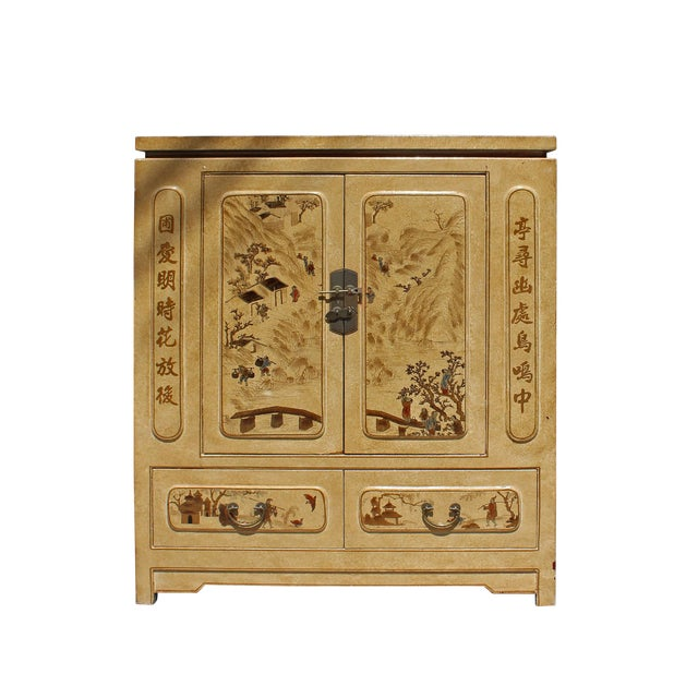 Chinese Golden Beige Veneer Print Graphic Side Table Shoes Cabinet For Sale