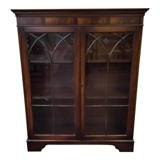 20th Century English Traditional Mahogany Curio Cabinet/Bookcase