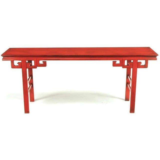 Circa 1950s Chinese Altar Table In Cinnabar Lacquer For Sale - Image 4 of 9
