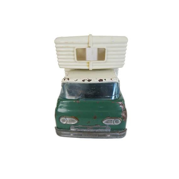 Vintage green and white Nylint Trail Blazer metal truck and camper toy or décor from the 1950s Metal truck body and...