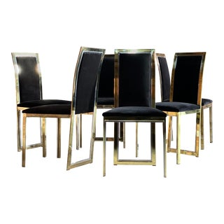 Romeo Rega Brass and Chrome Dining Chairs Harrods Italy, circa 1970s - Set of 6 For Sale