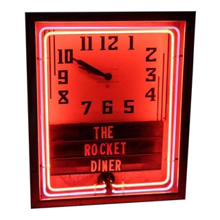 1930's Neon Diner Clock By Waltham