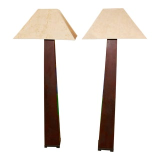 J. Robert Scott Iron Floor Lamps Beautifully Patinated With Original Shades For Sale