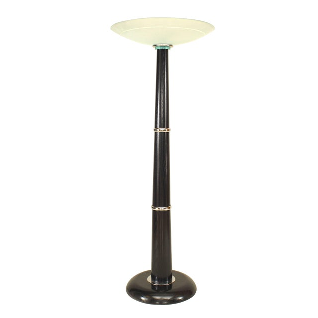 Italian Ebonized Chrome Trimmed Ebonized Floor Lamp For Sale
