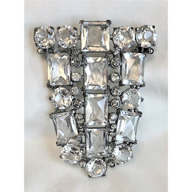 Metal Art Deco Clear Faceted Glass Brooch For Sale - Image 7 of 7