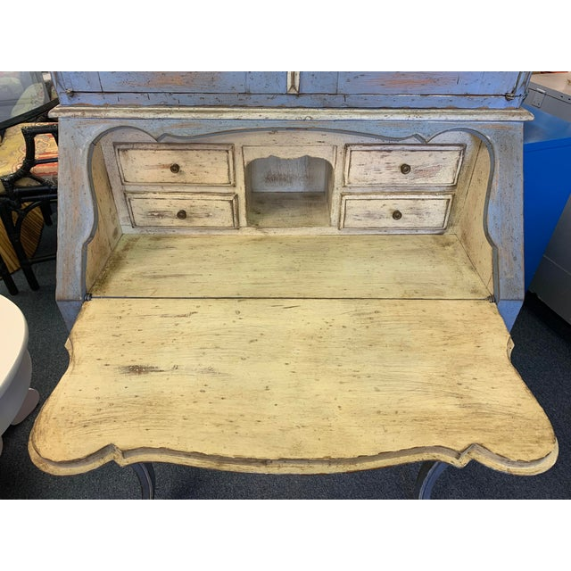 Blue Vintage French Country Gustavian Blue Drop Front Secretary For Sale - Image 8 of 13