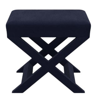 X Bench in Navy Velvet For Sale