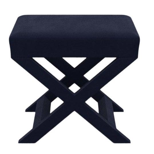 X Bench in Navy Velvet For Sale