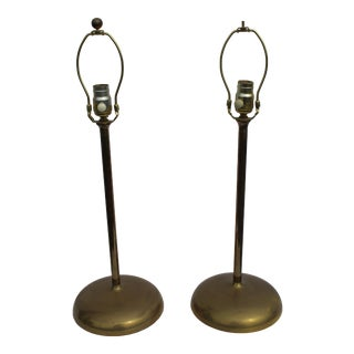 Modern/Deco Solid Brass Table Lamps - a Pair For Sale