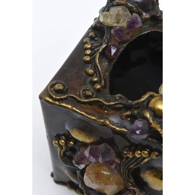 Yellow Brutalist Sculptural Mixed Metal and Amethyst, Quartz Tissue Box/ SAT.SALE For Sale - Image 8 of 10