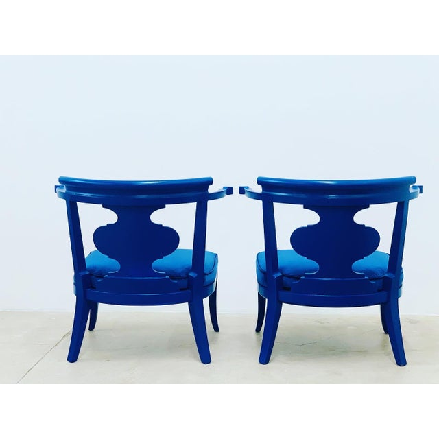 Mid Century Chinoiserie Style Horseshoe Chairs Redefined in Klein Blue - a Pair For Sale - Image 11 of 12