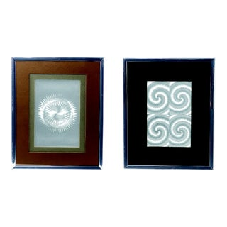 Pair of Vintage Framed Illusionary Op Art by Manifestations For Sale