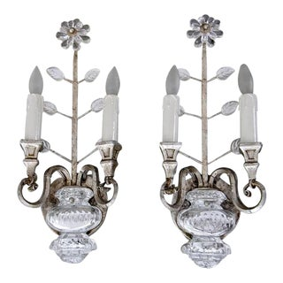Banci Crystal Silver Gilt Flower Wall Sconces - a Pair For Sale