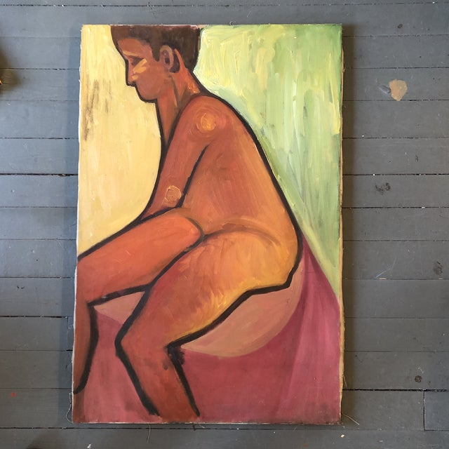 1950s Original Vintage Abstract Modernist. Male Nude Painting 1950's For Sale - Image 5 of 5