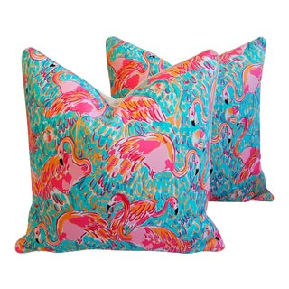 Boho Chic Shabby Chic Hot Pink Tropical Flamingo Pillows - Pair