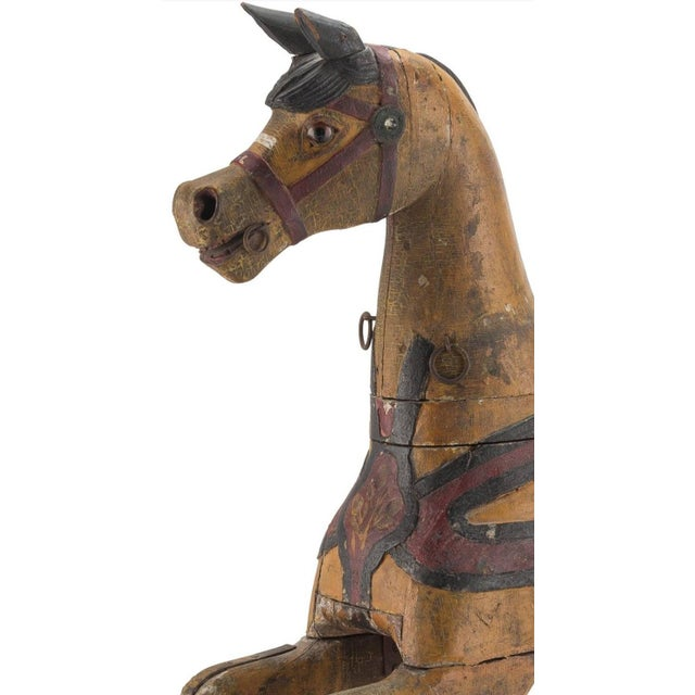 Yellow 19th Century Charles Dare American Hand Painted & Carved Carousel Horse Figure For Sale - Image 8 of 11