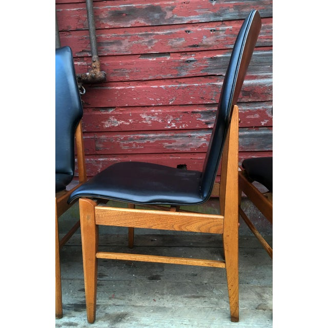 Black Set of 4 Mid Century Modern Lane High Back Walnut Dining Chairs For Sale - Image 8 of 11