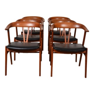 Torbjorn Afdal Rare Set of 6 Teak Dining Chairs For Sale