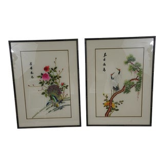 Vintage Silk Good Luck Cranes and Peacock in Real Bamboo Black Frames - a Set For Sale