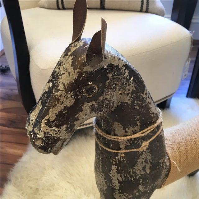 Rustic Wood & Burlap Horse - Image 3 of 7