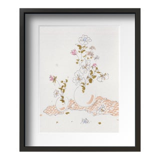 """Flowers on Desk 2 "" Contemporary Still Life Drawing by Tang Wen Ching, Framed For Sale"