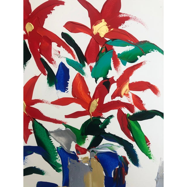 Abstract 1980s Barbara De Sassure Floral Still Life Painting For Sale - Image 3 of 12