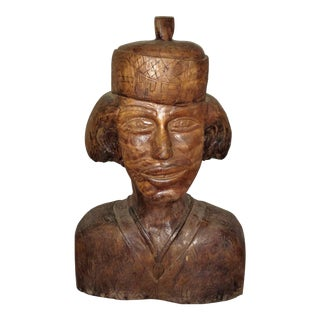 Large Carved Wooden Head by Elias 1980's For Sale