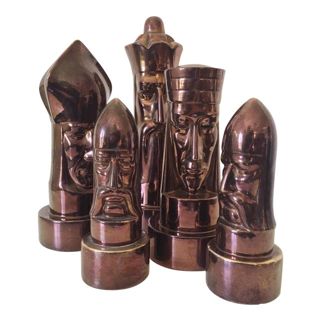 1940s Peter Ganine Metallic Copper-Colored Ceramic Chess Pieces - Set of 5 For Sale - Image 10 of 10