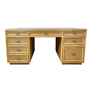 Faux Bamboo and Rattan Desk For Sale