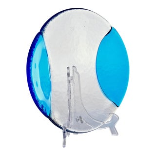 Round Vetri Murano Glass Platter With Blue Accents For Sale
