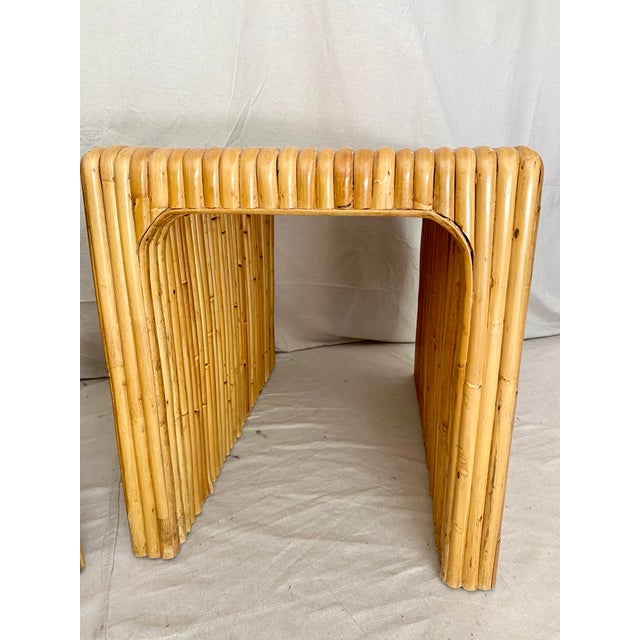 Vintage Split Reed Rattan Waterfall End Tables- a Pair For Sale - Image 10 of 13